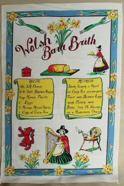 vintage kitchen towel print recipe bara brith Welsh bread fruitcake Wales