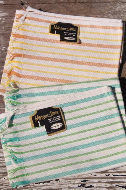 Vintage Kitchen Towels   Startex Flower Print Tea Towel Set, Striped  Morgan Jones Dishtowels