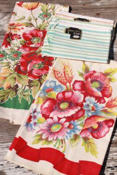 vintage kitchen towels - Startex flower print tea towel set, striped Morgan-Jones dishtowels