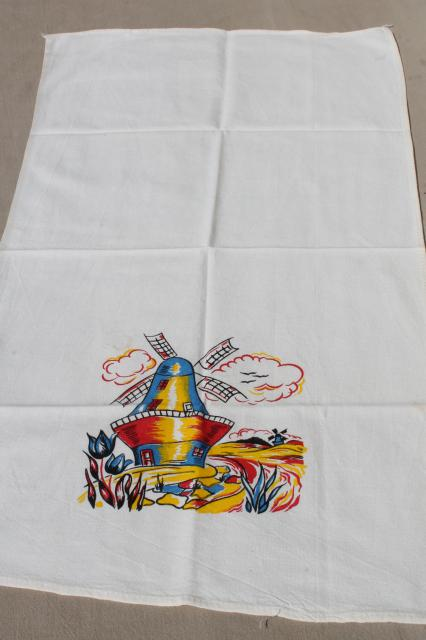 Vintage Kitchen Towels W Cheerful Holland Dutch Designs In Bright Colors