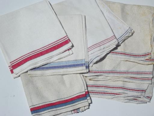 vintage kitchen towels lot, red & blue striped cotton linen ...