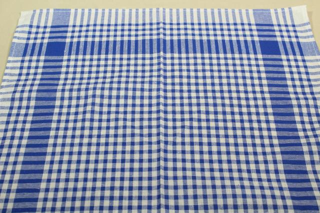 vintage kitchen towels, one dozen blue & white woven gingham checked cotton fabric