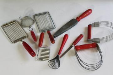 vintage kitchen utensils lot, cherry bakelite & red painted wood handled tools