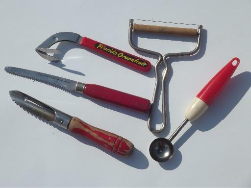 kitchen utensils w/ painted wood handles, red plastic & bakelite