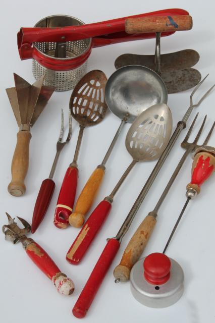 Antique Kitchen Tools ~ Vintage kitchen utensils w red handles painted wood