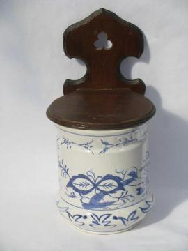 vintage kitchen wall box w/ wood bracket, large blue & white china canister