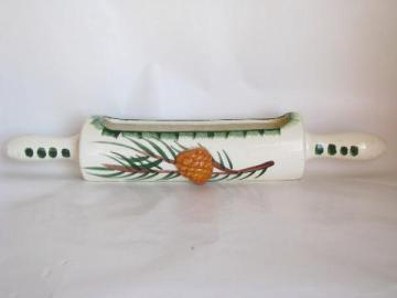 vintage kitchen wall pocket planter, old rolling pin, hand-painted pottery