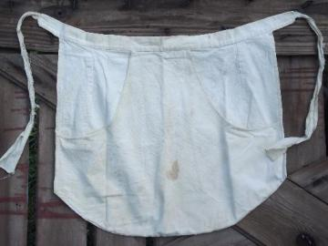 vintage kitchen washday apron, heavy homespun style cotton feedsack fabric