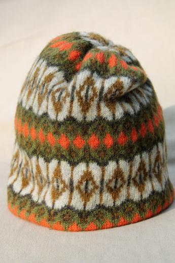 9d3ea504b4918 vintage knit wool skier's hat - Iceland ski cap made in Sweden ...