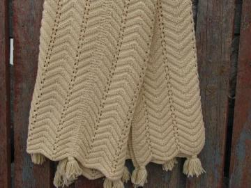 vintage knitted aran afghan throw blanket, soft and cozy cream acrylic