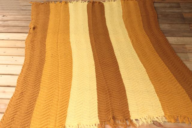 Vintage Knitted Wool Throw Blanket Knit Afghan In Golden