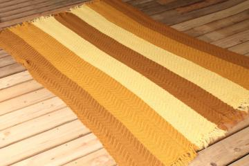 vintage knitted wool throw blanket, knit afghan in golden yellow fall harvest gold colors