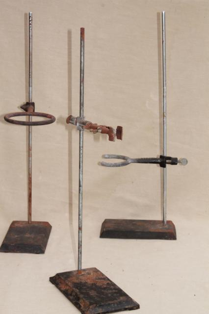 vintage lab beaker stands, heavy steel holder racks for laboratory glassware, bottles, flasks