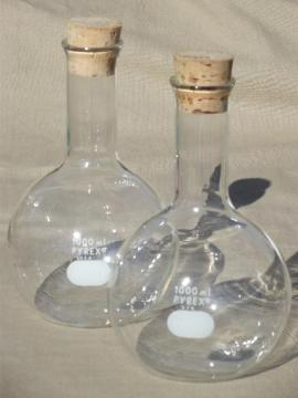 vintage lab glass flask bottles, large Pyrex chemical beakers w/ corks