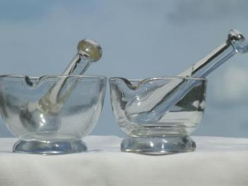 vintage laboratory glass mortar & pestle sets, clear glass mortars & pestles