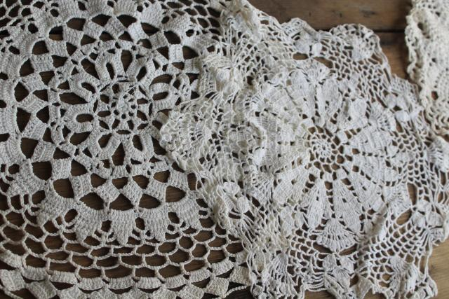 vintage lace doilies & star shape table mat centerpieces, crochet doily lot