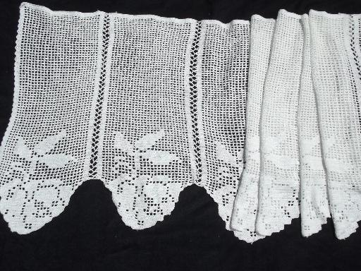 Vintage Lace Door Window Curtain And Valance Panel Filet