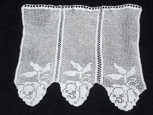 vintage lace door window curtain and valance panel, filet crochet roses