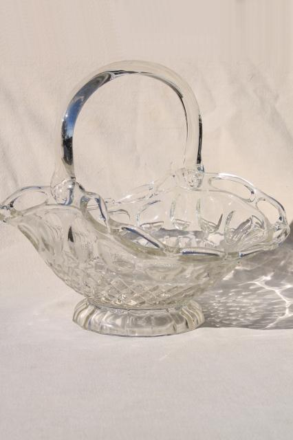 vintage lace edge glass brides basket, crystal clear glass centerpiece bowl for flowers