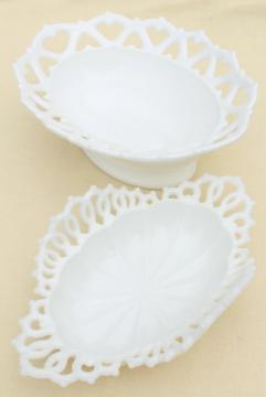vintage lace edge milk glass basket shaped bowls, oval flower bowl or serving dishes