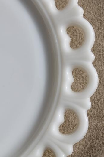 Vintage Lace Edge Milk Glass Cake Plate Large Round Tray