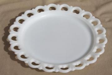 vintage lace edge milk glass cake plate, large round tray or serving platter