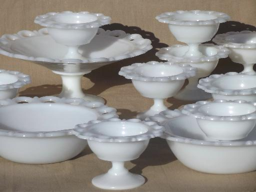 Vintage Lace Edge Milk Glass Dessert Or Salad Set Serving