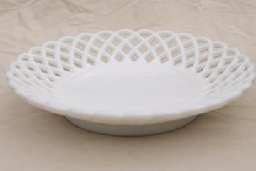 vintage lace edge milk glass, large centerpiece dish w/ shallow bowl shape
