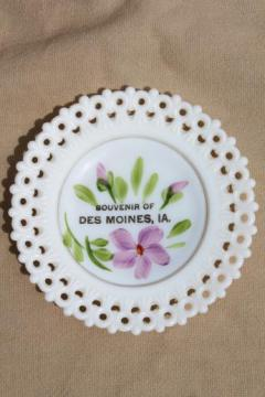 vintage lace edge milk glass plate, hand-painted souvenir of Des Moines