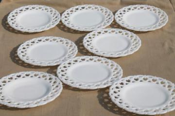 vintage lace edge milk glass plates, Westmoreland glass forget me not openwork border