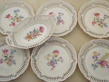 vintage lace edge reticulated  china dessert set, 40s US Zone Germany plates
