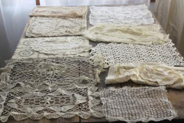 vintage lace for upcycling projects, sewing crafts - old machine made lace runners & doilies