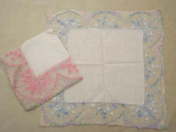 vintage lace hankies, cotton hankerchiefs with pink and blue edgings