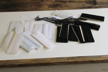 vintage lace seam tape in black & white, seam binding sewing trim lot carded notions