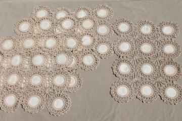 vintage lace table placemats, natural flax linen w/ lacy crochet doily motifs