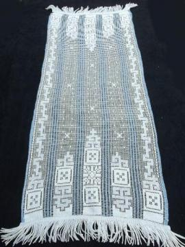 vintage lace table runner from Swiss estate, German or French country style