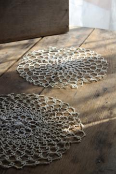 vintage lace tatting, pair of handmade tatted cotton thread doilies round mats