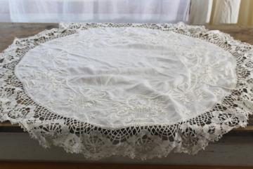 vintage lace trim linen doily, hand stitched padded embroidery table topper centerpiece