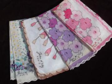 vintage ladies hankies lot, French flower print cotton handkerchiefs