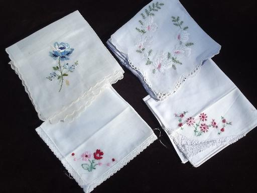 vintage ladies hankies lot Swiss handkerchiefs, embroidered fine cotton linen