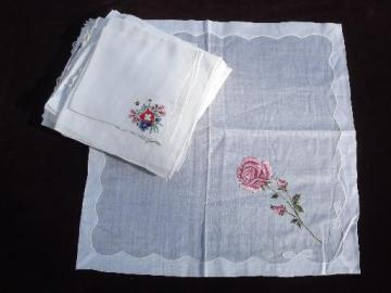 vintage ladies hankies lot Swiss handkerchiefs, embroidered fine cotton linen