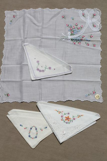 vintage ladies hankies lot - embroidered fine cotton linen handkerchiefs