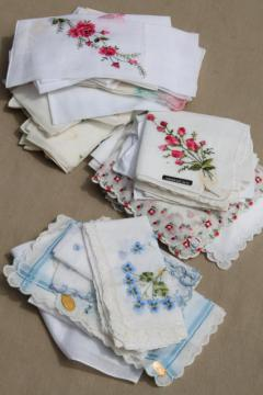 vintage ladies hankies lot - embroidered fine cotton linen handkerchiefs