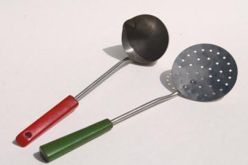 vintage ladle & skimmer, kitchen utensils w/ red & green catalin bakelite handles