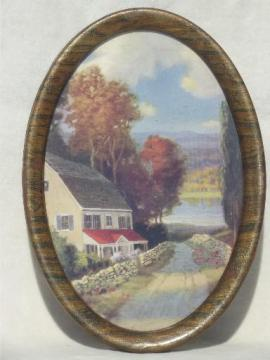 vintage lake cottage scene, oval framed print in antique tiger grained metal frame