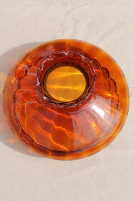 Vintage Large Amber Glass Lampshade Hand Blown Glass