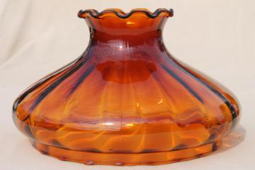 vintage large amber glass lampshade, hand-blown glass replacement shade for hanging light
