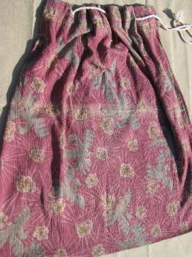 vintage laundry bag, 1920s cotton fabric w/ art deco phoenix print