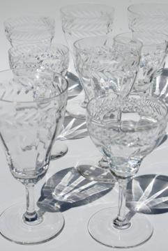 vintage laurel wreath wine & champagne glasses, Bryce etched optic glass goblets