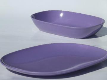 vintage lavender purple melmac, mod oblong platter & serving bowl set